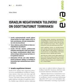 EVA Arvio: Israelin negatiivinen tulovero on osoittautunut toimivaksi
