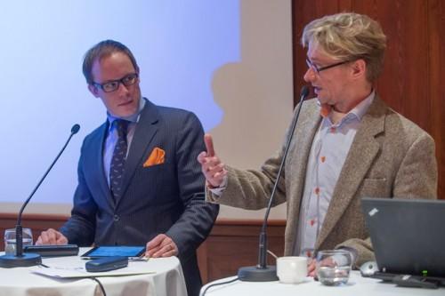 EVA:n verokeskustelu Kansallissalissa Helsingissä 27. tammikuuta 2014. Lasse Männistö jaMikael Jungner.