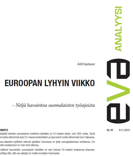 Suomessa on Euroopan lyhyin työviikko